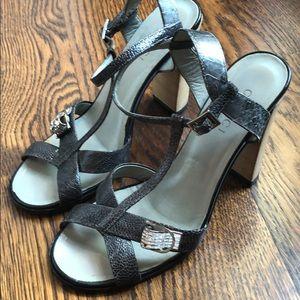 GUCCI heels lizard & exotic leather 7.5 rhinestone